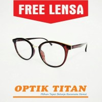 Harga frame kacamata minus baca vintage pria wanita 8146 coklat | Pembandingharga.com