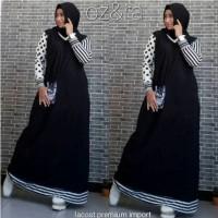 Amiara Dress Baju Gamis Import Maxi Lacos Salur Polka Import
