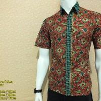 IZ G68 | Hem Batik Pria Lengan Pendek | Baju Batik Kawung Ageng