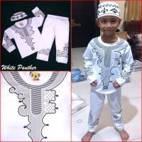Jual Baju Koko WHITE PANTHER Pakaian Muslim Anak Laki Premium Mewah MARUNO Murah