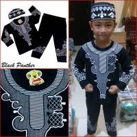 Jual Baju Koko BLACK PANTHER Pakaian Muslim Anak Laki Premium Mewah MARUNO Murah