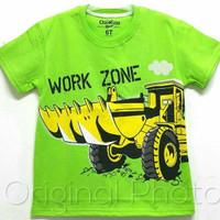 Baju kaos karakter anak laki-laki oshkosh work zone hijau 1-6