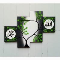 hiasan dinding pajangan lukisan minimalis kaligrafi bunga hijau