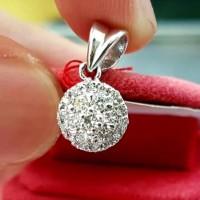 Liontin Kalung ASLI Emas Putih 18k 75% Berlian Natural Diamond Eropa