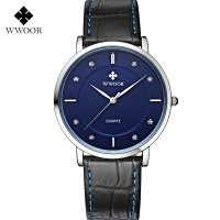 WWOOR 8811 Blue  Jam Tangan Tipis Pria Tali Kulit Tahan Air Original