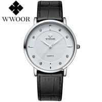 WWOOR 8811 White Jam Tangan Tipis Pria Tali Kulit Tahan Air Original