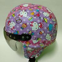 Broico helm anak retro lucu motif batik Hello Kitty usia 1- 5 Tahun