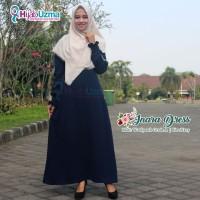 Gamis Wolfis Woolpeach Polos Inara Dress Hijab Uzma Biru Dongker