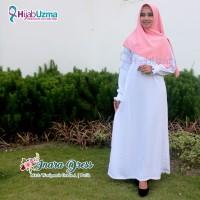 Gamis Wolfis Woolpeach Polos Inara Dress Hijab Uzma Putih