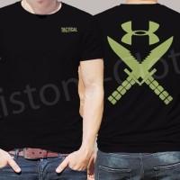 best seller Kaos under armour Tactical army UA hitam baju distro mili