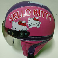 Helm anak retro lucu karakter hello kitty Usia 1 - 5 Tahun / Pink Ungu