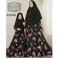Couple maxlux fenita black ks6948/baju gamis syari couple ibu & anak