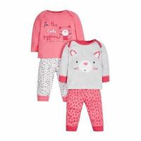 Mothercare 2 Pack Piyama Cat Pink Grey Original Baju Tidur Anak Bayi