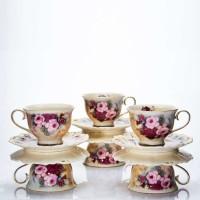 6 Cup + Saucer Burgundy Rose Capodimonte / Cangkir + Tatakan