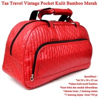 Tas Travel Vintage Pocket Kulit merah