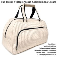 Tas Travel Vintage Pocket Kulit cream