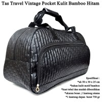 Tas Travel Vintage Pocket Kulit hitam