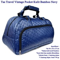 Tas Travel Vintage Pocket Kulit navy