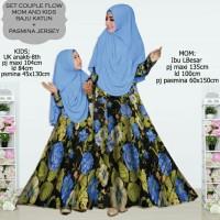 couple gamis abaya katun jepang ibu dan anak