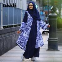 Baju Muslim Wanita Gamis Syari Sifon kombinasi Jersey Motif Overall