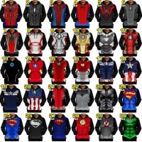 Jual HOODIE JAKET kaos SUPERHERO spiderman iron man batman 3D best seller Murah