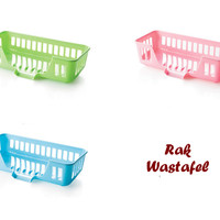 Rak Wastafel (Ada mulut untuk tirisan air, unik & modern)