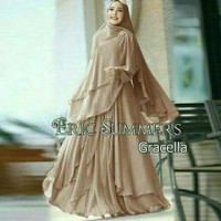 Gamis gracella pink eric summer gamis set khimar polos ceruty