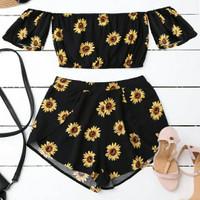 Setelan Crop Top Off Shoulder Sabrina + Celana pendek Motif Sun Flower