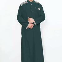 Jubah Cordova Hijau Botol Al Isra Pakaian Gamis Pria Muslim Hijau Tua