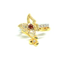 Cincin Fashion Mix Lapis Emas Putih 2 In 1 Kupu Kupu Merah Bunga