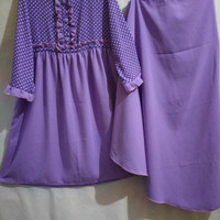 Gamis anak + jilbab kombinasi wolfis ungu