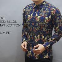 Jual Baju Batik Pria Slim Fit Modern lengan Panjang D161 Murah
