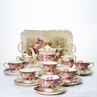Teaset 18 PCS + Nampan Keramik Berkualitas Capodimonte / Tea Set