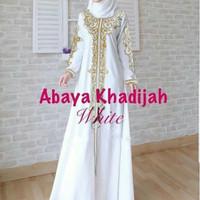 gamis white abaya khadijah bordir gold