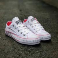 sepatu sneakers casual converse classics putih pink cewek women wanita