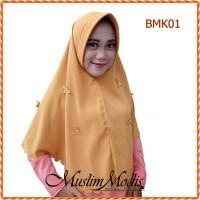 Jilbab Hijab Kerudung Bergo Kupu-Kupu Mutiara Simple Pad Antem BMK01