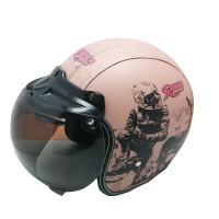 Helm Retro bogo Kulit Moteros Rider  Kaca Bubble halfface SNI