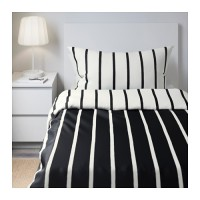 IKIEA TUVBRACKA Sarung quilt 150x200 cm, 2 sarung bantal, hitam putih