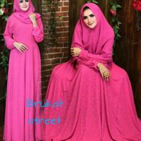 Jual baju muslim wanita-gamis pesta mewah-brukat hijau Murah