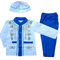 Baju Muslim Koko (6-12 Bulan) Anak Bayi Laki-Laki Setelan Set Peci Ly5