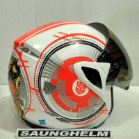 Terlaris Helm Gm Anak Transformer # 2  White/Orange