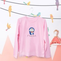 Jual Tumblr Tee / T-Shirt / Kaos Wanita Lengan Panjang Doraemon Warna Pink Murah