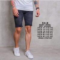 Harga short jeans grey skinny slim fit jins pendek celana stretch karet | Pembandingharga.com