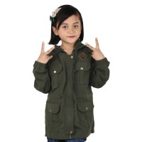 Jaket Parka Anak Perempuan Kanvas Hijau Ori Catenzo Junior - CNK 011