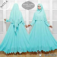 Gamis Nayla Syari Polos Dress Lebaran Murah Baju Wanita Muslim Blue