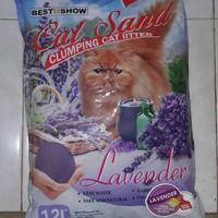 Harga pasir kucing cat sand lavender maxi best in show 12 lt khusus   antitipu.com