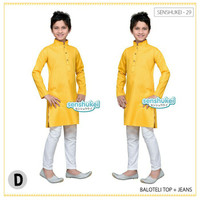 Baju muslim koko anak laki yellow ala india