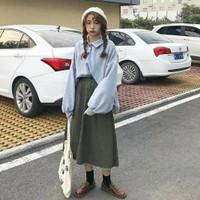 Korean Set Oversized Blouse and Skirt