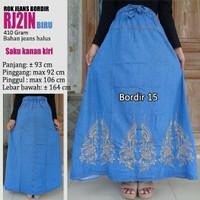 Jual Rok jeans panjang variasi bordir cantik biru Murah