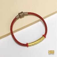 Gelang tali emas hongkong 24k 999 charm pipa pandora merah